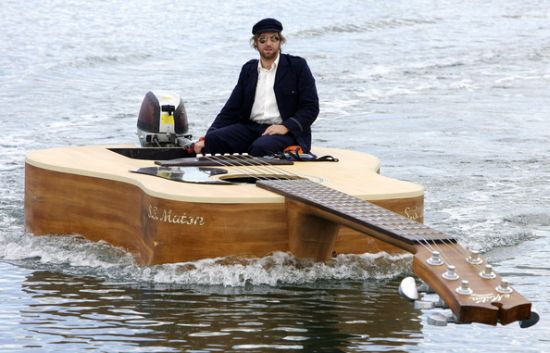 boat that looks like a guitar
